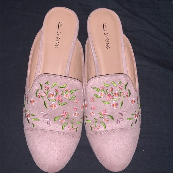 Pink floral slip on loafer/mule
